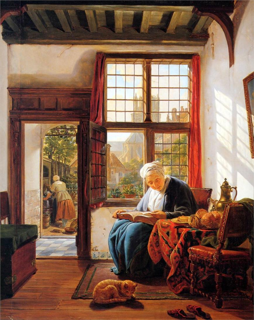 reading-old-woman-at-window