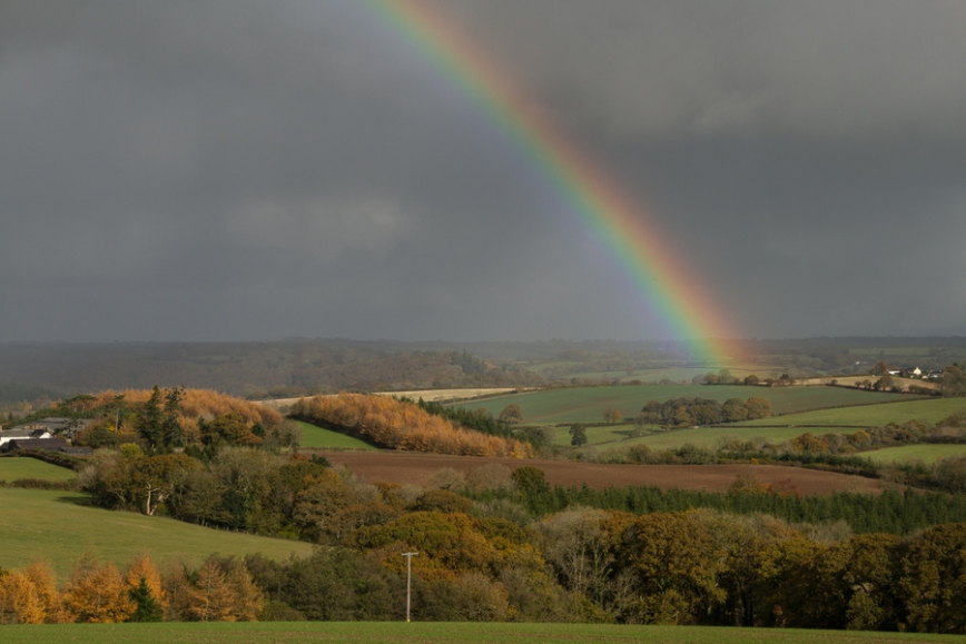 Rainbow Over Rural Devon, England
